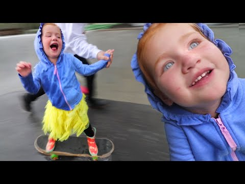 RAINY DAY ROUTINE!! Adley and Dad play in the backyard skate park in a RAIN STORM! (dont get soaked)