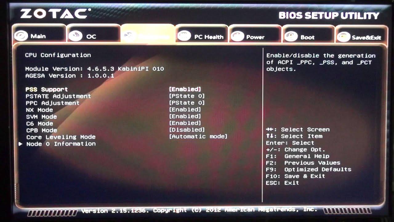 Zotac ZBOX-MA320 BIOS Settings
