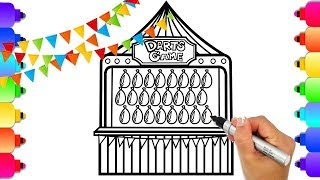 How to Draw Carnival Game | Amusement Park Carnival Coloring Page | GLITTER ART