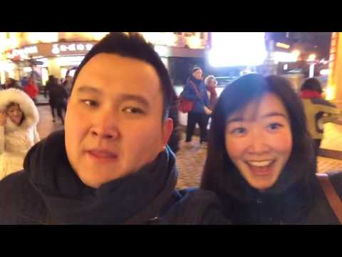 With my friend at Centre Avenue in Harbin, China
