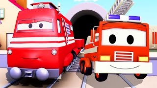 Troy the Train and the Fire Truck in Car City | Trains & Trucks cartoons for kids