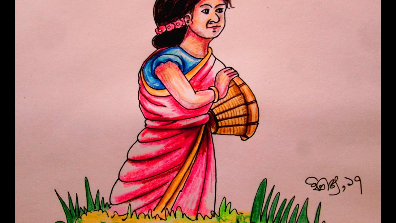 How to draw a mountainous village girl pahari meye
