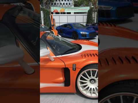 The only street legal Maserati MC12 parking with a Pagani Huayra