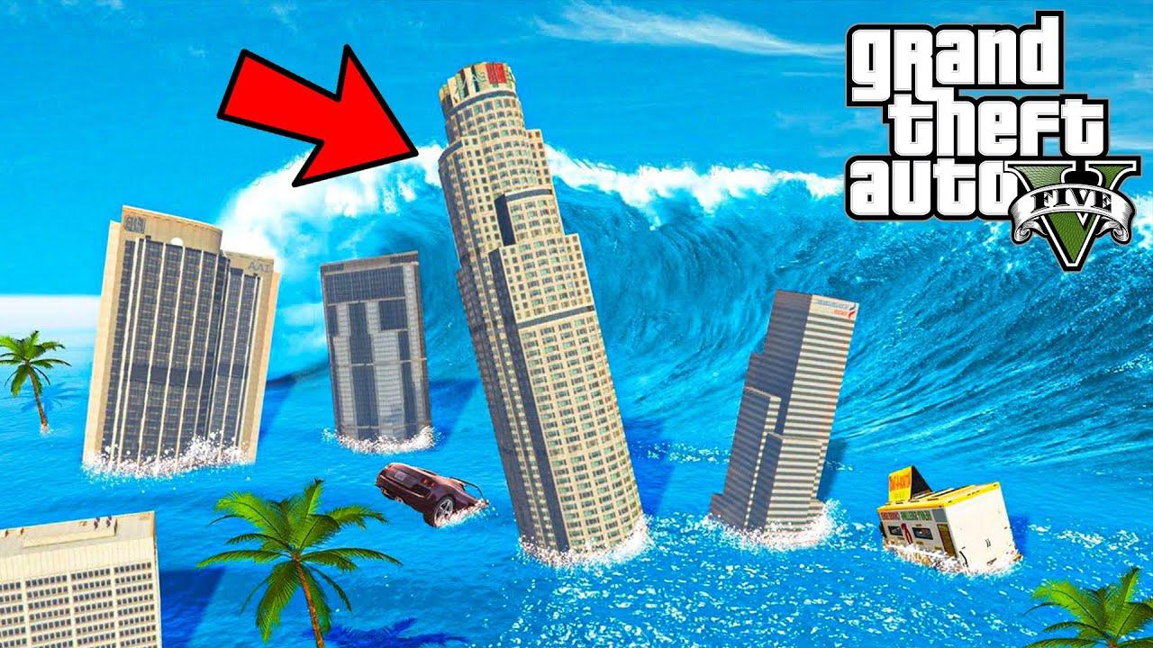 اكبر تسونامي في التاريخ قراند 5 | GTA 5 Tsunami !!