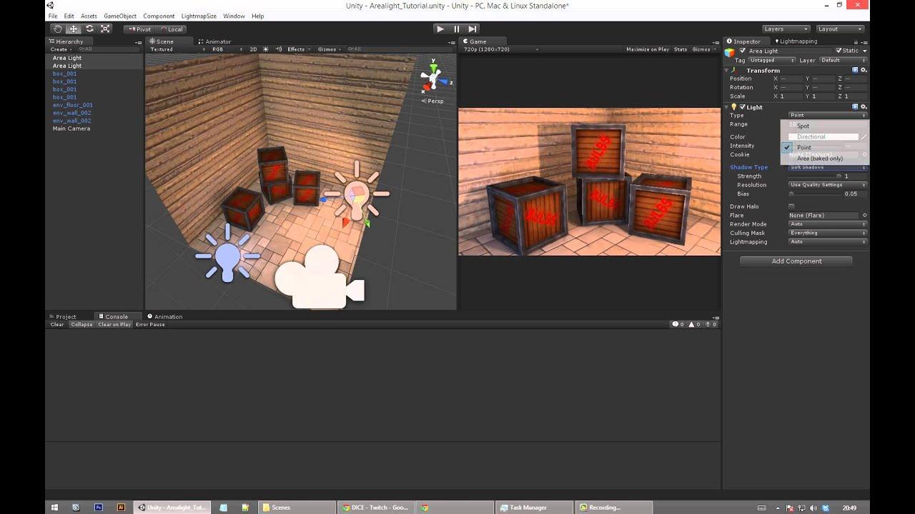 Unity3D Area light shadows