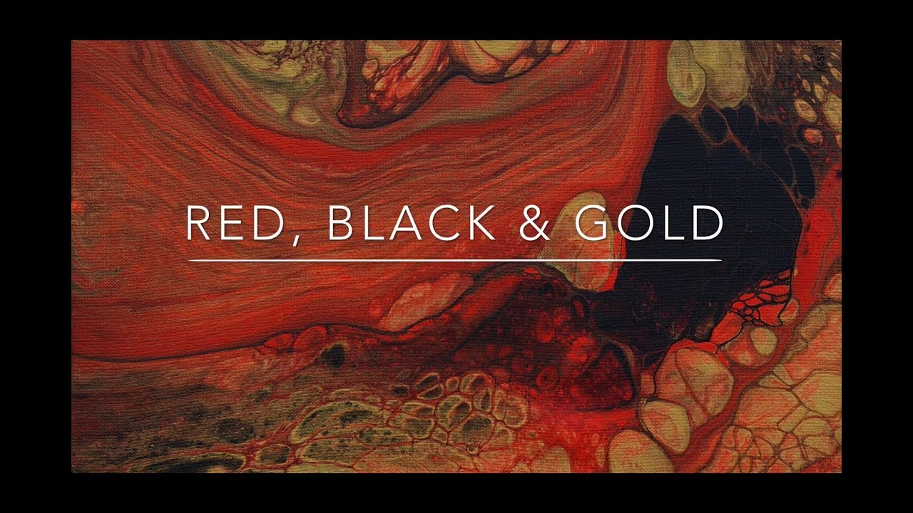 52 Fluid Acrylic Pour Painting Red Black Gold Big Cells With Open Floating Cup