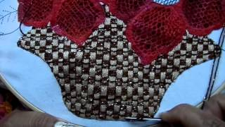 Bordado de cesta com flores parte 2