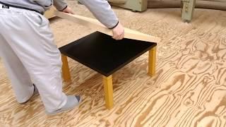テーブル天板のリメイク方法、丸ごと被せるメラミン化粧板天板 thumbnail