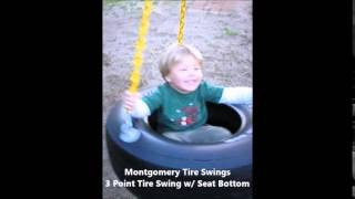 "3 Point Tire Swing With Seat Bottom - "" The Perfect Toddler Tire Swing"""
