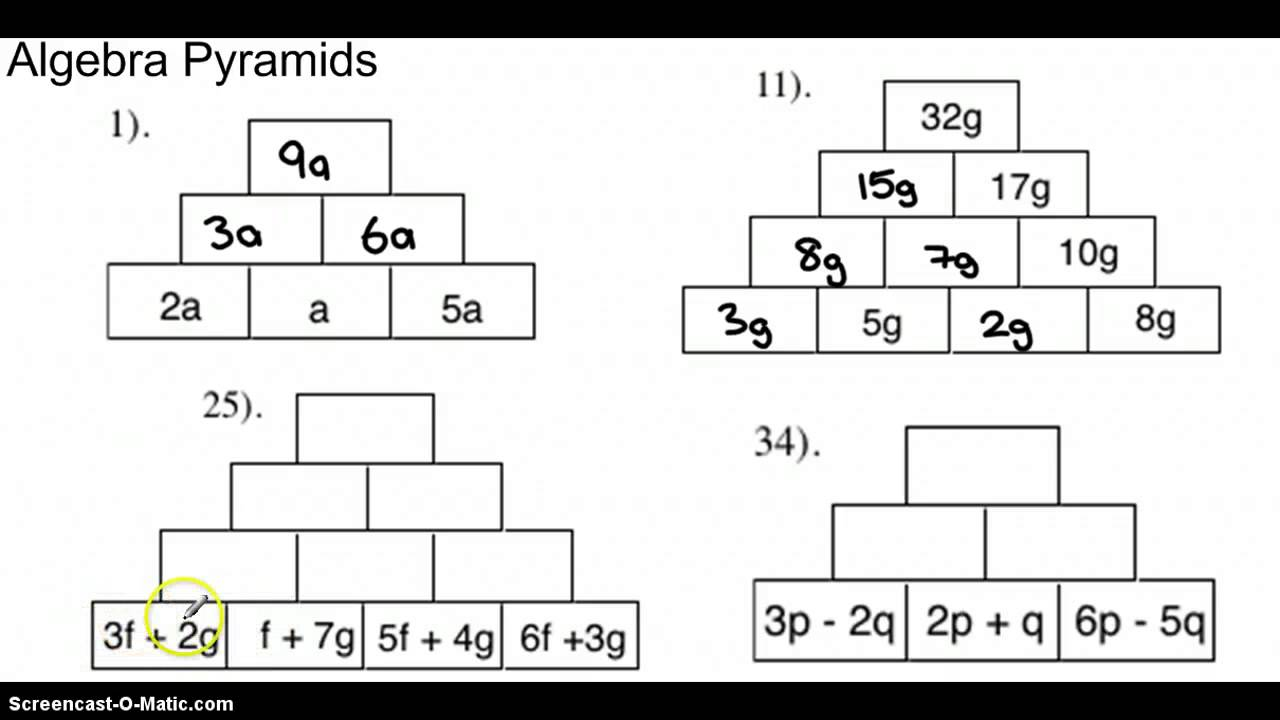 math worksheet : algebra pyramids  youtube : Addition Pyramid Worksheets