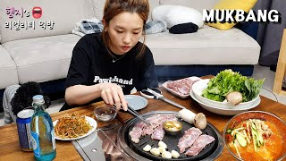 Real Mukbang:) Grilled Diaphragm Pork Meat (ft.SoJu) ★ Cold Kimchi Noodle !!