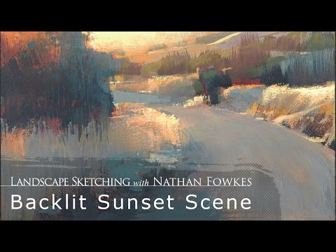 Landscape Sketching with Nathan Fowkes: Backlit Sunset Scene