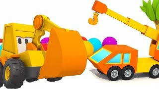 Ekskavatör ve Vinç Max. Araba Karikatür çocuk Araç