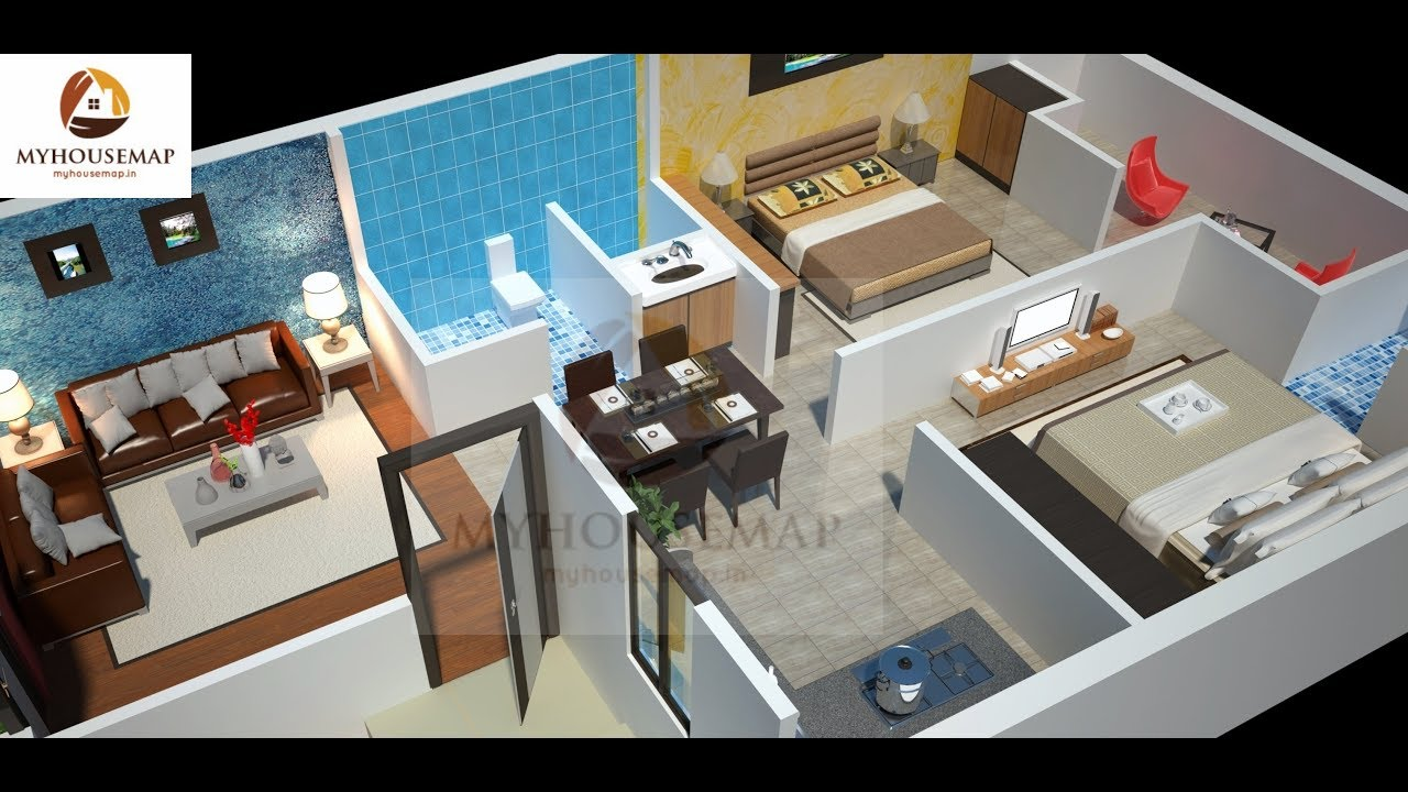 Indian Small House Interior Design Ideas | Luxuries Two Bedroom Hall Kitchen  1000 Sq Ft