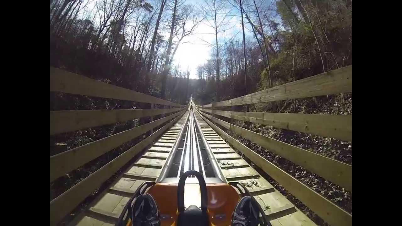 smoky mountain alpine coaster roller coaster pov pigeon forge