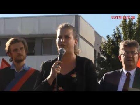 Mathilde Panot et JL Mélenchon avec les salariés de General Electric Grenoble