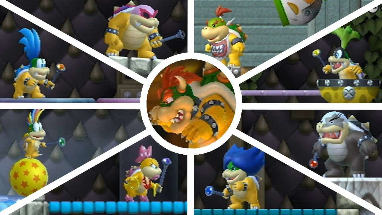 New Super Mario Bros Wii All Bosses Youtube