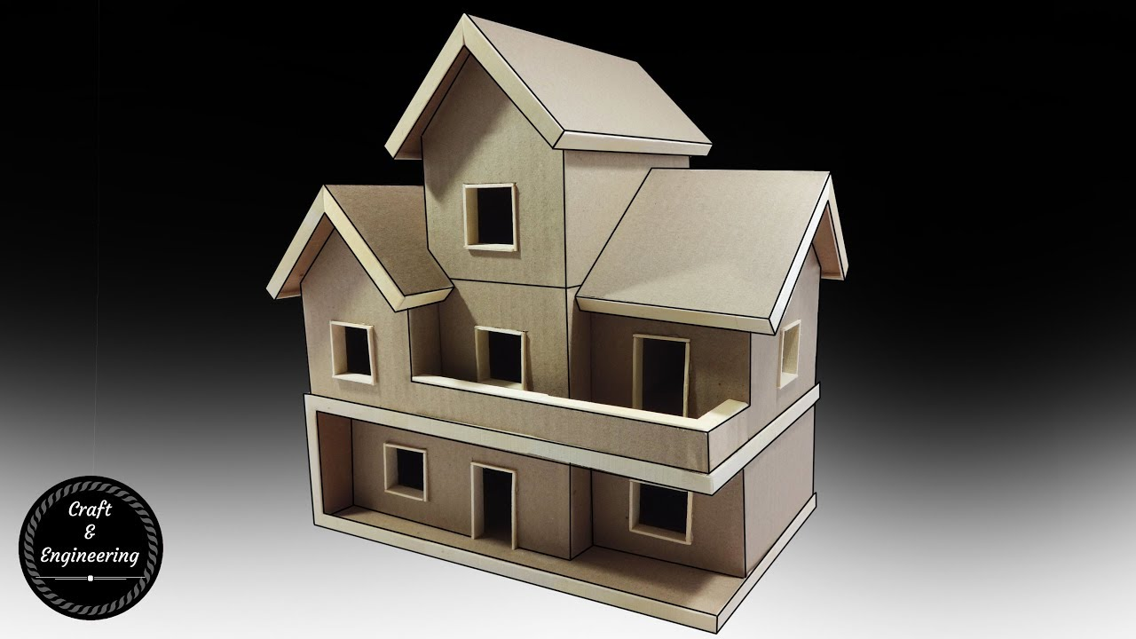 Cardboard and popsicle stick mansion house villa youtube for Build a 3d house online