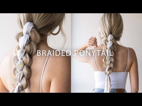 how-to:-easy-braided-ponytail-with-a-scarf-🌸-cute-summer-hairstyle