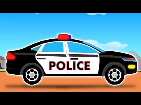 Carro da polícia-Car Wash | Desenhos para caçoa | Popula caçoar Vídeo | Police Car-Car Wash