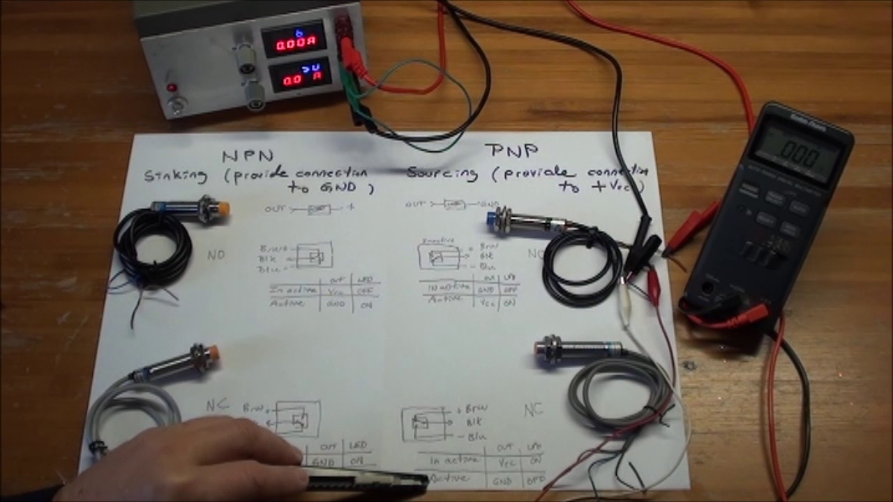 npn pnp no nc proximity switches experiments with function and pull down resistors [ 1280 x 720 Pixel ]