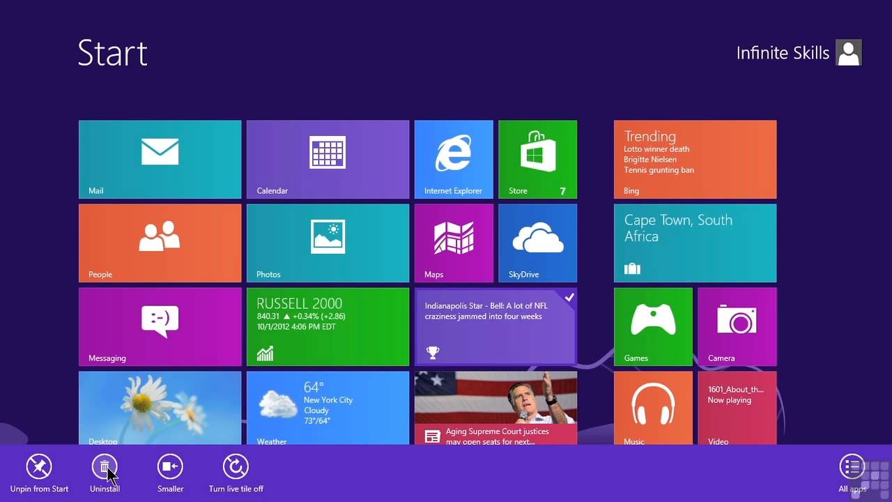 Microsoft Windows 8 Tutorial | Deleting And Adding Tiles On The Start Screen