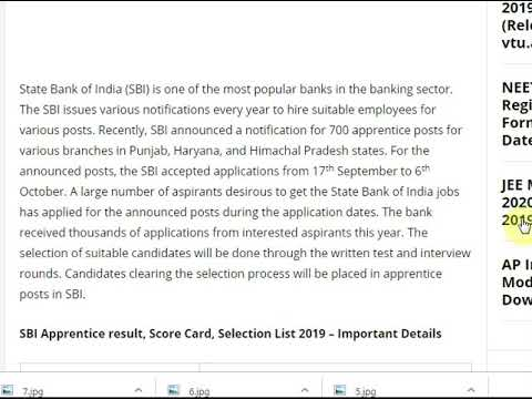 SBI Apprentice Result 2019 - Cutoff Marks, Merit List & Score Card @ sbi...