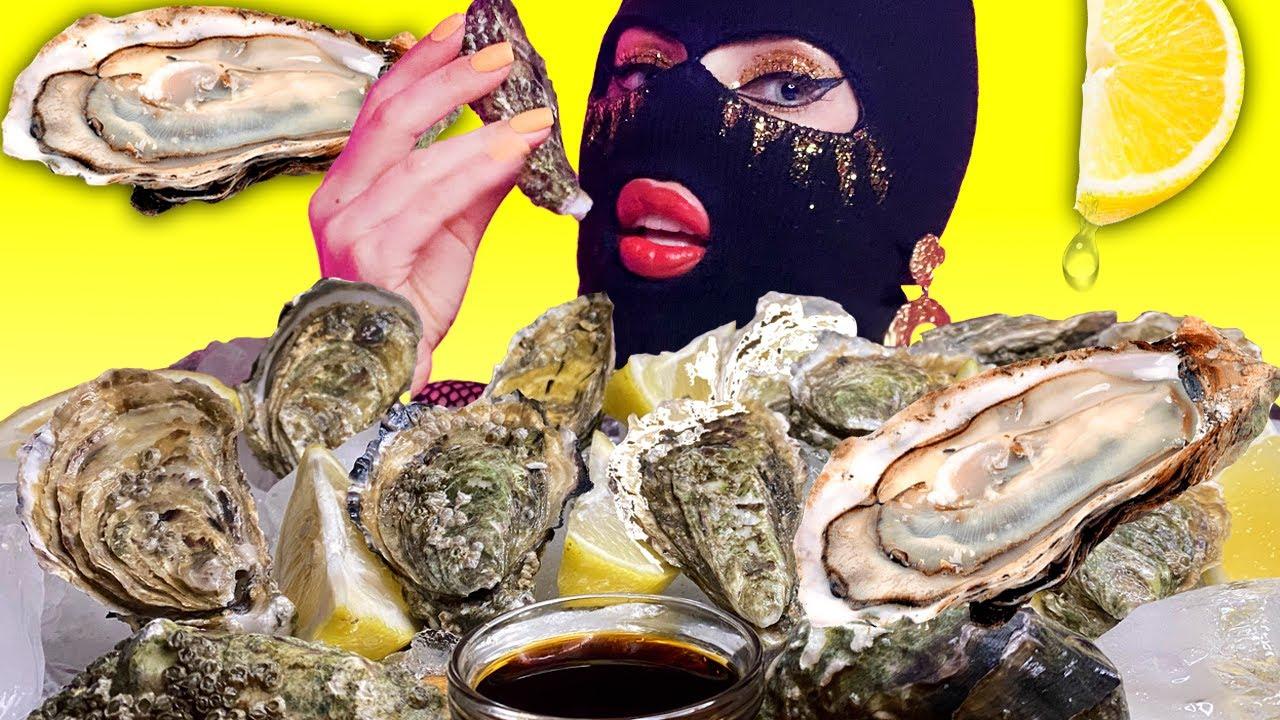 ASMR Giant Raw Oysters Eating   Seafood Mukbang   ASMR Mouth Sounds   Fru Fru ASMR