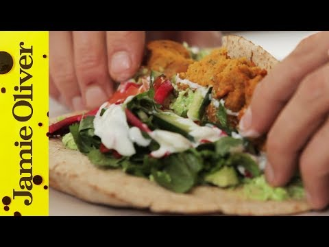 Sweet Potato Falafel with Pea & Feta Hummus | Aaron Craze