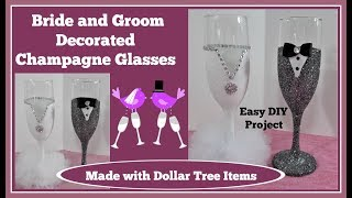 👰Bride and Groom 💍Champagne Glasses. Easy DIY *Please read note in description
