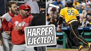 Bryce Harper EJECTED, Gets Called Out! Josh Bell HR GOES OUT OUT OF STADIUM? (MLB Recap)