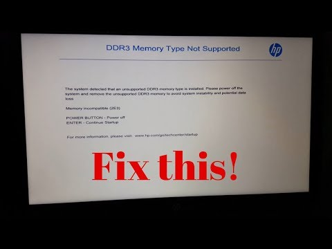 Cause and fix for DDR3 memory type not supported error (Memory incompatible 2E3)