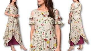 DIY casual & party wear floral layered asymmetric kurti cutting stitching