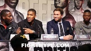 LAWRENCE OKOLIE AND ISAAC CHAMBERLAIN ERUPT; ANTHONY JOSHUA INTERRUPTS AS THEY TRADE HEATED WORDS