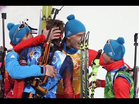 видео: БИАТЛОН Эстафета 4х7,5 км, мужчины Россия золото 22,02,2014