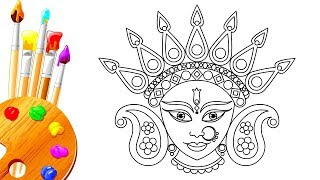 How to Draw Navratri Hindu Goddess Durga Maa Step by Step Drawing For kids  | Dussehra Special