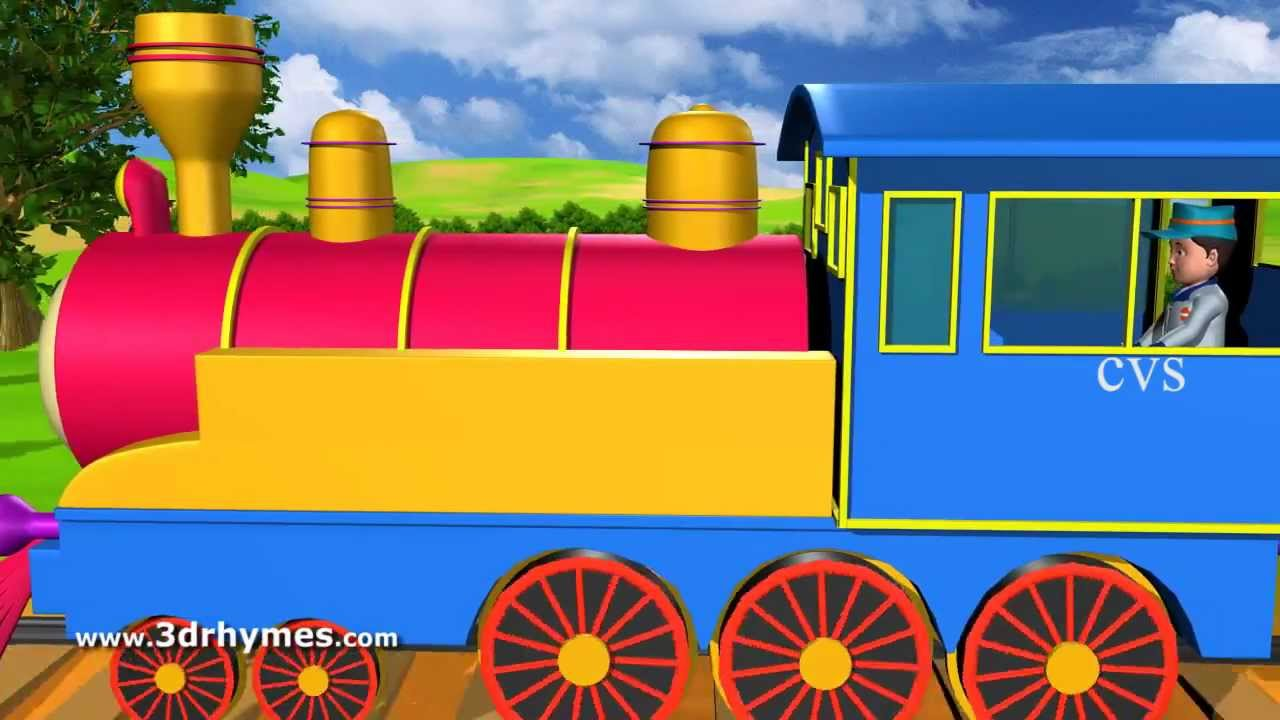 Piggy on the railway line picking up stones - 3D Animation English Nursery  rhyme song for children