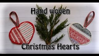 Hand woven Christmas hearts ornament tutorial - no sew!