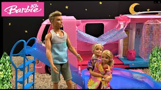 Barbie and Ken Overnight Camping Trip with Barbie Camper Routine and Barbie Sister Chelsea in a Pool