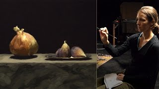 Emily Paints Figs and an Onion - wet in wet from life