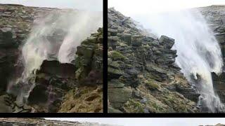 Uragano Ophelia, DIRETTA AMATORIALE, durante il passaggio la cascata viene risucchiata