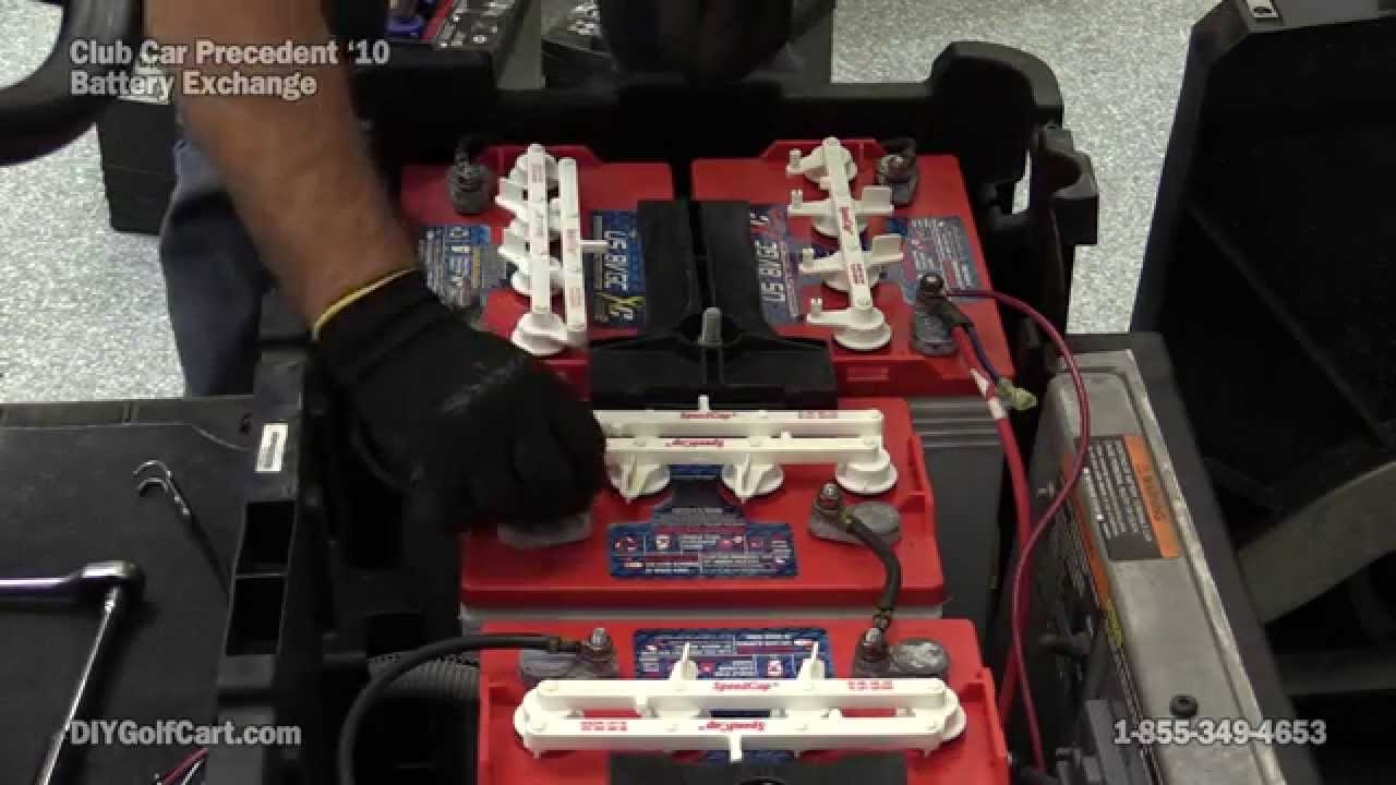How To Replace Club Car Precedent Batteries Electric Golf Cart Wiring Diagram On Carts My Youtube