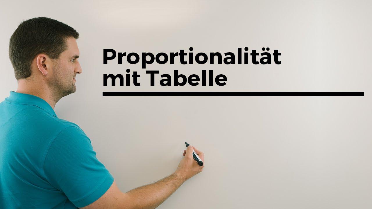 Proportionalität mit Tabelle, Zuordnungen, Beispiel | Mathe by ...