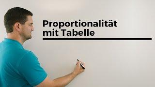 Proportionalität mit Tabelle, Zuordnungen, Beispiel   Mathe by Daniel Jung