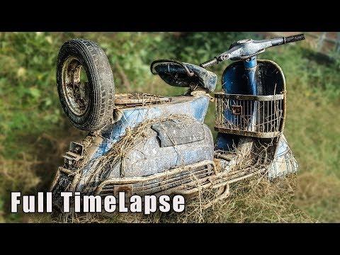 Full Restoration of 1970s Italian Piaggio Vespa Scooter - Full Timelapse