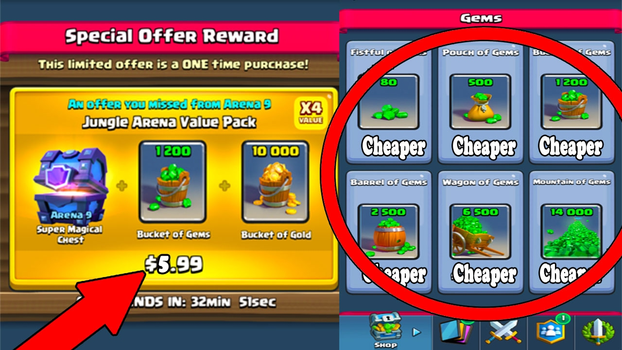 Dec 13, 2017. Typically, the best way to spend gems in clash royale is to use them on. A smart way to spend your gems is on the gold bulks you can buy in.