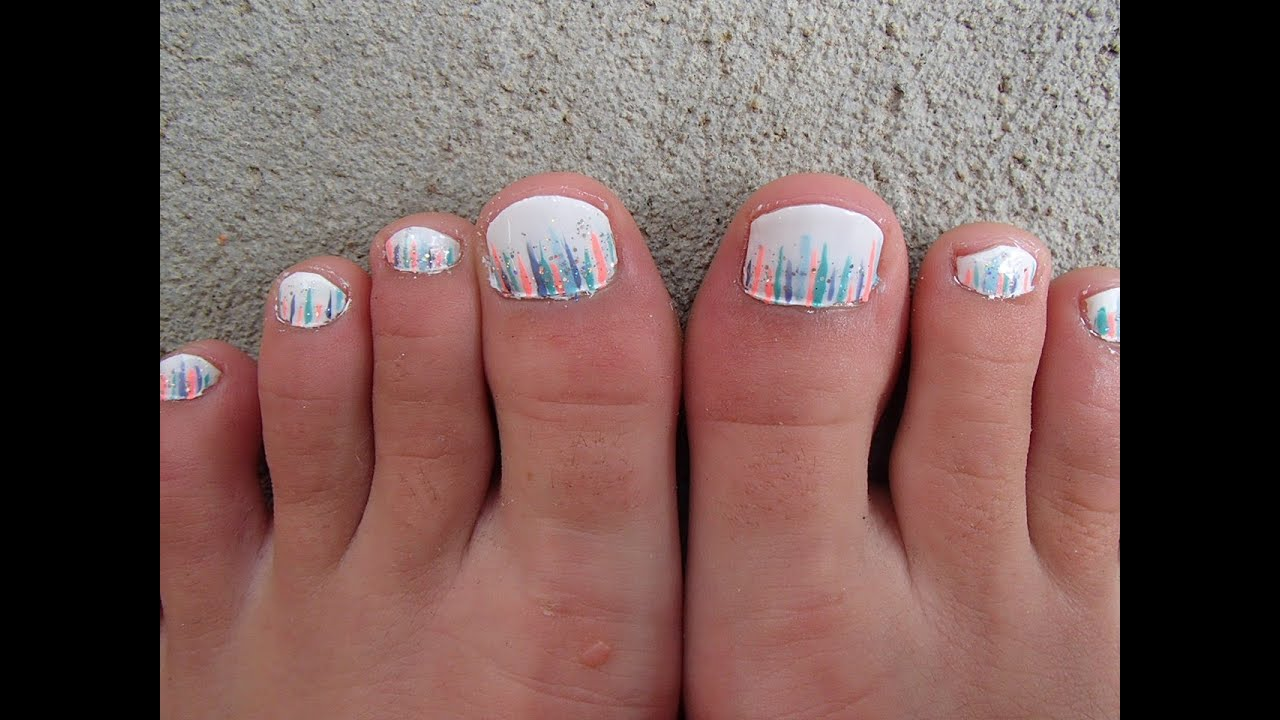Sparkly Striped Toe Nail Design - YouTube