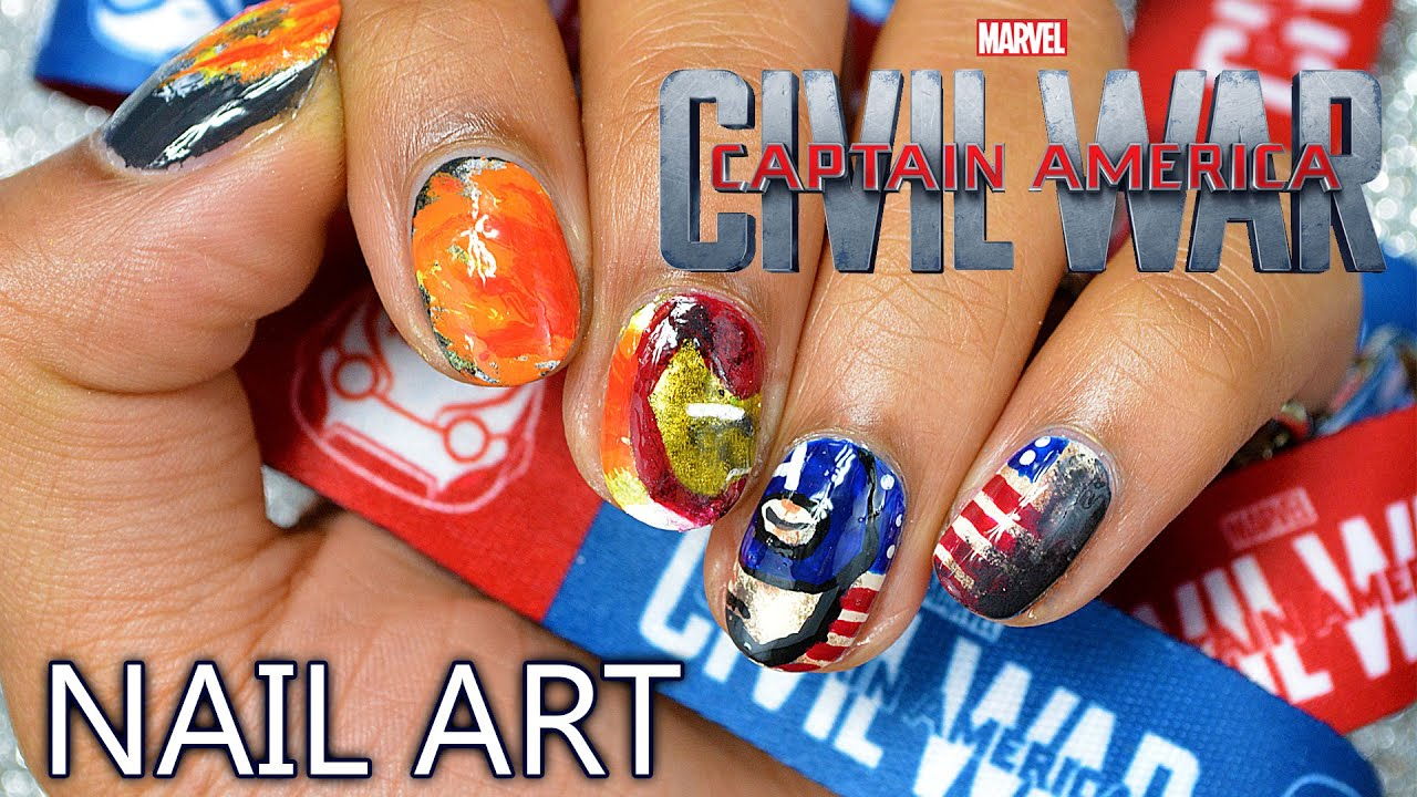 DIY: Marvel\'s Captain America: Civil War Nail Art - YouTube