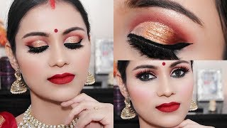 DURGA PUJA Makeup 2018 Traditional Bengali Look| Gold Glitter Eyes In Hindi