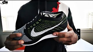 """Nike Flyknit Racer Black/white/Volt """"Unboxing and Review"""""""